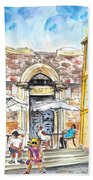 By The Old Cathedral In Cartagena 01 Bath Towel