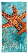 By The Sea Shore Original Coastal Painting Colorful Starfish Art By Megan Duncanson Bath Towel