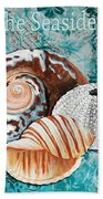 By The Seaside Original Coastal Painting Colorful Urchin And Seashell Art By Megan Duncanson Bath Towel