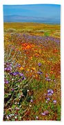Ca Poppies And Goldfields And Lacy Phacelia And Sage In Antelope Valley Ca Poppy Reserve-california Bath Towel