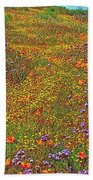 Ca Poppies And Goldfields And Lacy Phacelia In  Antelope Valley Ca Poppy Reserve-california  Bath Towel