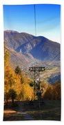 Cableway In Autumn Bath Towel
