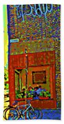 Cafe Window Corner Rue Fabre Near The Bicycle Stand Art Of Montreal Summer Street Scene  Bath Towel