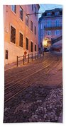 Calcada Da Gloria Street At Dusk In Lisbon Bath Towel