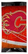 Calgary Flames Christmas Bath Towel