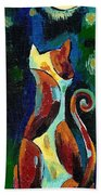 Calico Cat Abstract In Moonlight Hand Towel