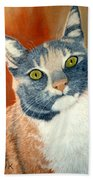 Calico Cat Bath Towel by Karen Zuk Rosenblatt