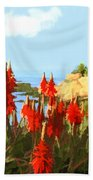 California Coastline With Red Hot Poker Plants Bath Towel