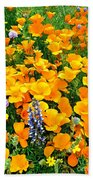 California Poppies And Betham Lupines Southern California Bath Towel
