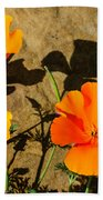 California Poppies - Crisp Shadows From The Desert Sun  Bath Towel