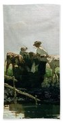 Calves At A Pond, 1863 Bath Towel