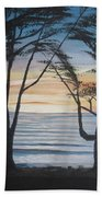 Cambria Cypress Trees At Sunset Bath Towel