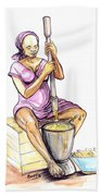 Cameroon Woman Grinding Plantain Bananas Bath Towel