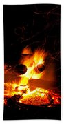 Campfire As A Symbol Of Warmth And Life On Black Bath Towel