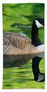 Canada Goose On Green Pond Bath Towel