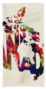 Canada Typographic Watercolor Map Hand Towel by Inspirowl Design