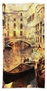 Canal And Docked Gondolas In Venice Bath Towel