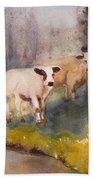 Canal Cows Bath Towel