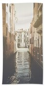 Canal In Venice Italy Applying Retro Instagram Style Filter Bath Towel