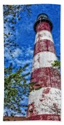 Candy Cane Lighthouse Hand Towel