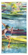 Canoe Race In Polynesia Bath Towel