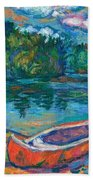 Canoes At Mountain Lake Sketch Bath Towel