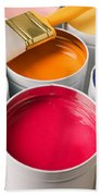 Cans Of Colored Paint Bath Towel