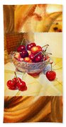 Cappuccino Abstract Collage Cherries Bath Towel
