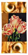 Cappuccino Abstract Collage French Roses Bath Towel