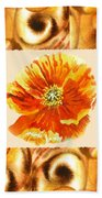 Cappuccino Abstract Collage Poppy Bath Towel