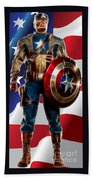 Captain America In Front Of Old Glory Bath Towel