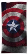 Captain America Shield On Usa Flag Bath Towel