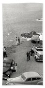 Car Over Edge On Highway One  Big Sur  California    March 27 1947 Bath Towel