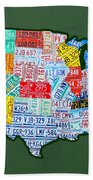 Car Tag Number Plate Art Usa On Green Bath Towel