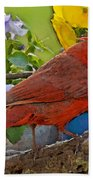 Cardinal With Pansies And Decorations Photoart Bath Towel