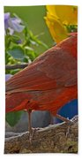 Cardinal With Pansies Bath Towel