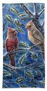 Cardinals And Holly Bath Towel