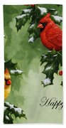 Cardinals Holiday Card - Version With Snow Bath Towel