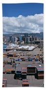 Cargo Containers At A Harbor, Honolulu Bath Towel