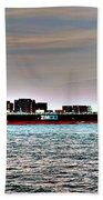 Cargo Ship Near Chesapeake Bay Bridge Tunnel Bath Towel