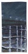 Carolina Beach Pier By Night Bath Towel