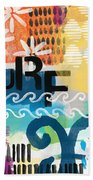 Carousel #7 Surf - Contemporary Abstract Art Hand Towel by Linda Woods