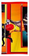 Carousel Horse Fireman 04 In Teal Bath Towel