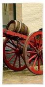 Cart Loaded With Wood Beer Barrels Bath Towel