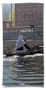 Cartoon - Light Following This Lady On A Wooden Boat On The Dal Lake In Srinagar Bath Towel