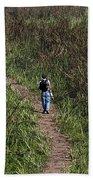 Cartoon - Man Walking Through Tall Grass In The Okhla Bird Sanctuary Bath Towel