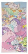Cartoon Sea Creatures Bath Towel