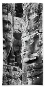 Carved Stone Faces In The Khmer Temple Bath Towel