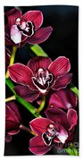 Cascading Red Orchids Bath Towel