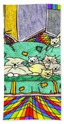 Cat Family - In The City Bath Towel